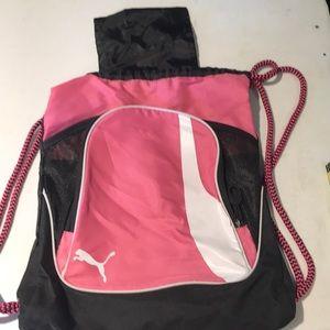 Pink Puma draw string cinch back pack